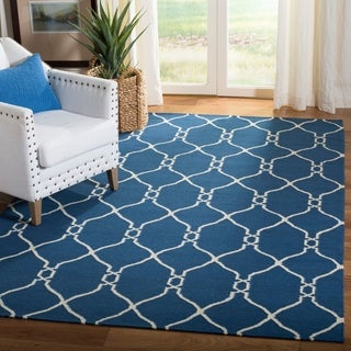 Safavieh Handmade Flatweave Dhurries Dark Blue Wool Rug (9' x 12')
