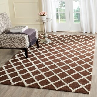 Safavieh Handmade Cambridge Dark Brown/ Ivory Wool Rug (9' x 12')