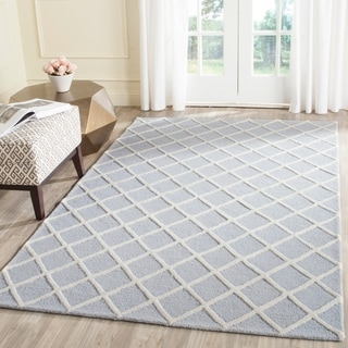 Safavieh Handmade Cambridge Light Blue/ Ivory Wool Rug (9' x 12')