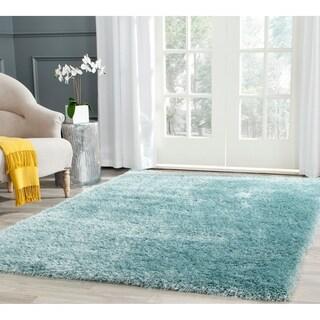 Safavieh Charlotte Shag Light Blue / Polyester Rug (4' x 6')