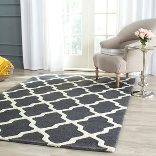 Safavieh Handmade Cambridge Dark Grey/ Ivory Wool Rug (6' x 9')