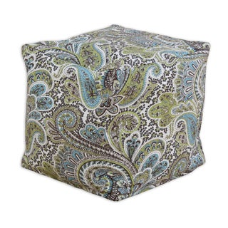 Paisley Chocolate 12.5 x 12.5 KE Zippered Beads Footstool