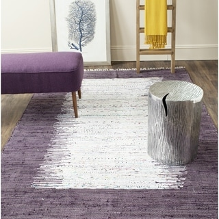 Safavieh Hand-woven Montauk Ivory/ Purple Cotton Rug (9' x 12')