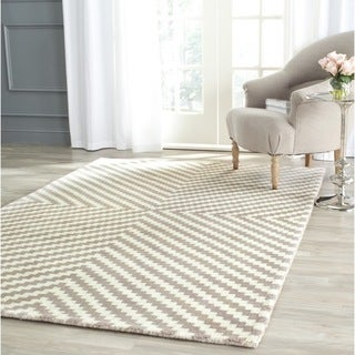 Safavieh Handmade Cambridge Grey/ Ivory Wool Rug (4' x 6')
