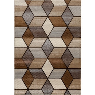 Somette Providence Terrain Angled Graph Beige Area Rug (7'10 x 9'10)