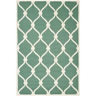 Safavieh Handmade Cambridge Teal/ Ivory Wool Rug (10' x 14')