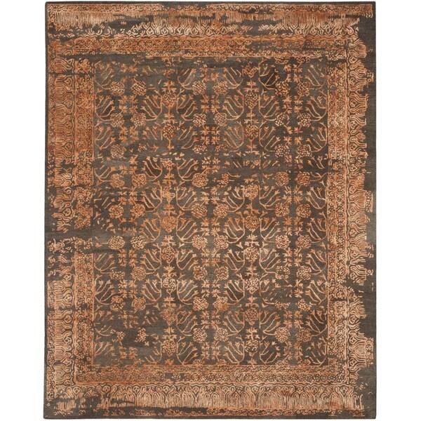Safavieh Handmade Sapphire Light Brown/ Rust Wool/ Viscose