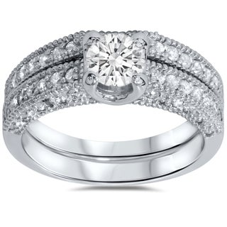 14k White Gold Vintage 1 1/10ct Pave-set White Diamond Bridal Ring Set (G-H, I1-I2)