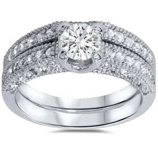 14k White Gold Vintage 1 1/10ct Pave-set White Diamond Bridal Ring Set (I-J, I2-I3)