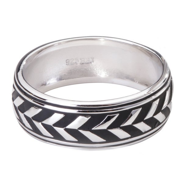 Blue Box Jewels Sterling Silver Oxidized Alternating Black and Silver Unisex Ring