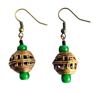 African Old Brass and Bead Round Earrings (Ghana)