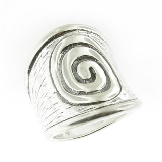 Handcrafted .925 Sterling Silver Textured Electroform Spiral Ring (Thailand)