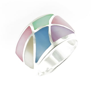 Handcrafted .925 Sterling Silver High Polish Multi-color MOP Ring (Thailand)