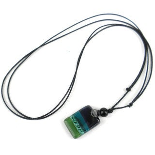 Ocean River Meadow Small Fused Glass Pendant Necklace (Chile)