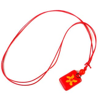 Fiery Flower Small Fused Glass Pendant Necklace (Chile)