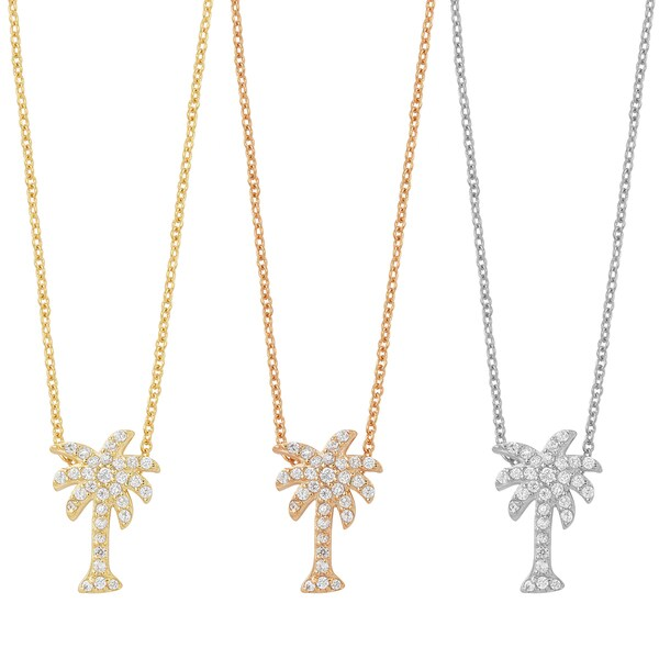 Fremada Gold Over Sterling Silver and Cubic Zirconia Palm Tree Necklace 14114209