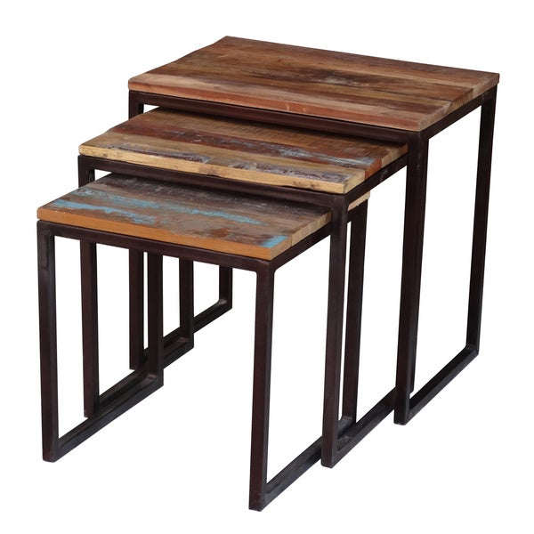 Timbergirl Reclaimed Wood And Iron 2 piece Nesting Table Set India