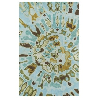 Hand-tufted Artworks Teal Tie-dye Rug (8' x 11')