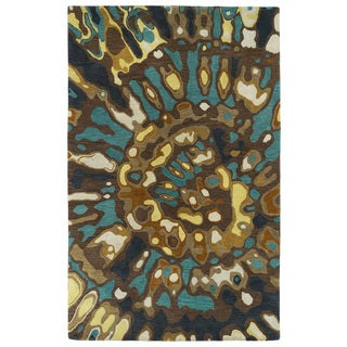 Hand-tufted Artworks Chocolate Tie-dye Rug (3'6 x 5'6)