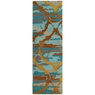 Hand-tufted Artworks Multi Tie-dye Rug (2'6 x 8')