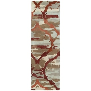 Hand-tufted Artworks Red Tie-dye Rug (2'6 x 8')