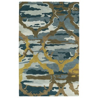 Hand-tufted Artworks Blue Tie-dye Rug (9'6 x 13')