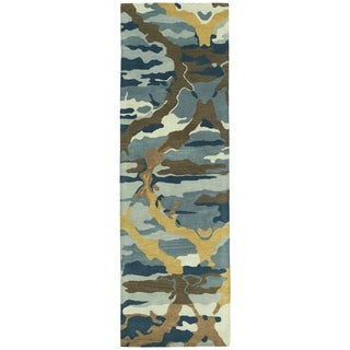 Hand-tufted Artworks Blue Tie-dye Rug (2'6 x 8')