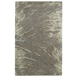 Hand-tufted Artworks Brown Waves Rug (9'6 x 13')