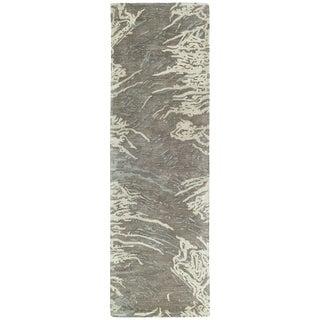 Hand-tufted Artworks Brown Waves Rug (2'6 x 8')
