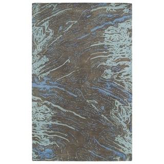 Hand-tufted Artworks Chocolate Waves Rug (8' x 11')