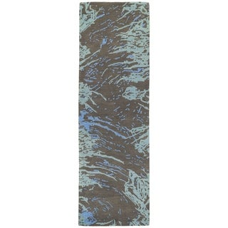 Hand-tufted Artworks Chocolate Waves Rug (2'6 x 8')
