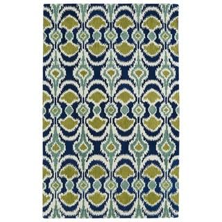 Hand-tufted de Leon Ikat Navy Wool Rug (3'6 x 5'6)