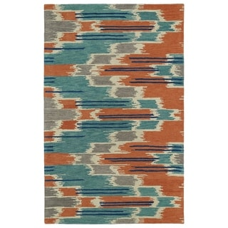 Hand-tufted de Leon Ikat Multi Wool Area Rug (9' x 12')