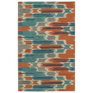 Hand-tufted de Leon Ikat Multi Wool Rug (5' x 7'9)