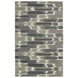Hand-tufted de Leon Ikat Grey Rug (9' x 12')