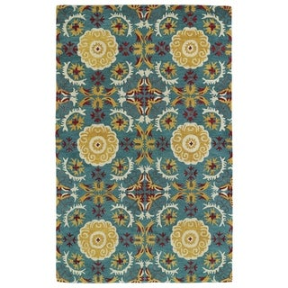 Hand-tufted de Leon Turquoise Wool Rug (5' x 7'9)