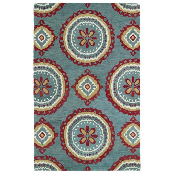 Hand-tufted de Leon Turquoise Rug (8' x 10')