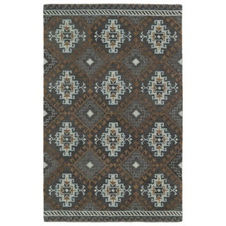 Hand-tufted de Leon Tribal Grey Rug (9' x 12')