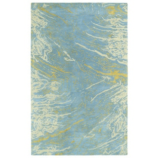Hand-tufted Artworks Blue Waves Rug (9'6 x 13')
