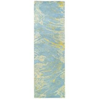 Hand-tufted Artworks Blue Waves Rug (2'6 x 8')