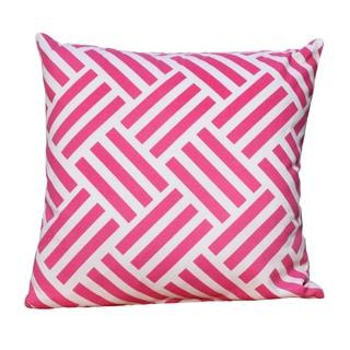Auburn Textiles 16 x 16-inch Cotton Criss Cross Pink Printed Throw Pillow