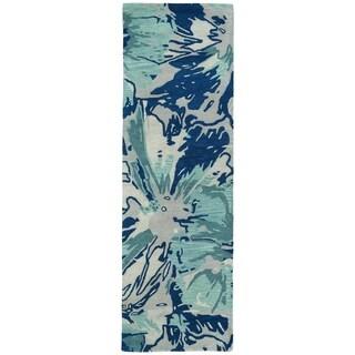 Hand-tufted Artworks Blue Floral Rug (2'6 x 8')