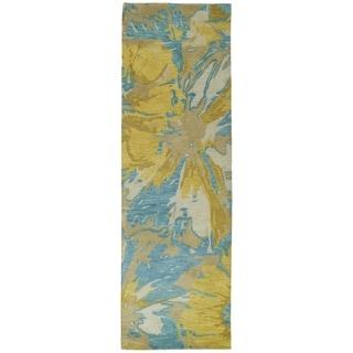Hand-tufted Artworks Gold Floral Rug (2'6 x 8')