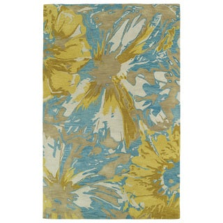 Hand-tufted Artworks Gold Floral Rug (3'6 x 5'6)
