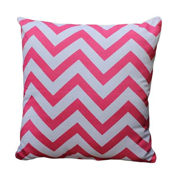 Auburn Textiles Pink/ White Chevron Print Decorative Throw Pillow