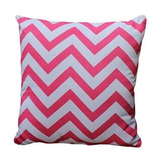 Pink/ White Chevron Print Decorative Throw Pillow