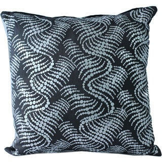 Decorative Poly-silk Sequined 16 x 16-inch Embroidered Throw Pillow Cover
