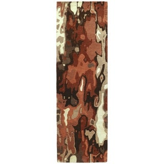 Hand-tufted Artworks Rust Watercolor Rug (2'6 x 8')
