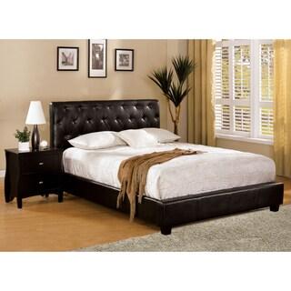 Furniture of America Pendezi Espresso 3-Piece Bed, Nightstand and Medium Soft Mattress Set