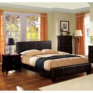 Furniture of America Geriza Espresso 3-Piece Bed, Nightstand and Medium Soft Mattress Set